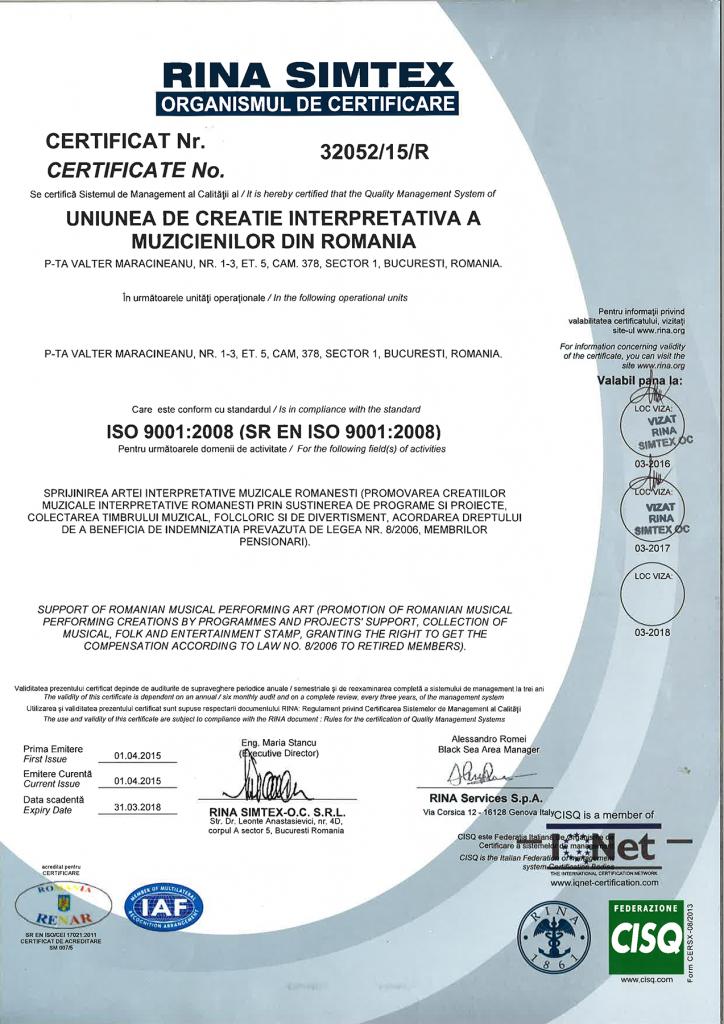 Rina Simtex - Certificat vizat 2016