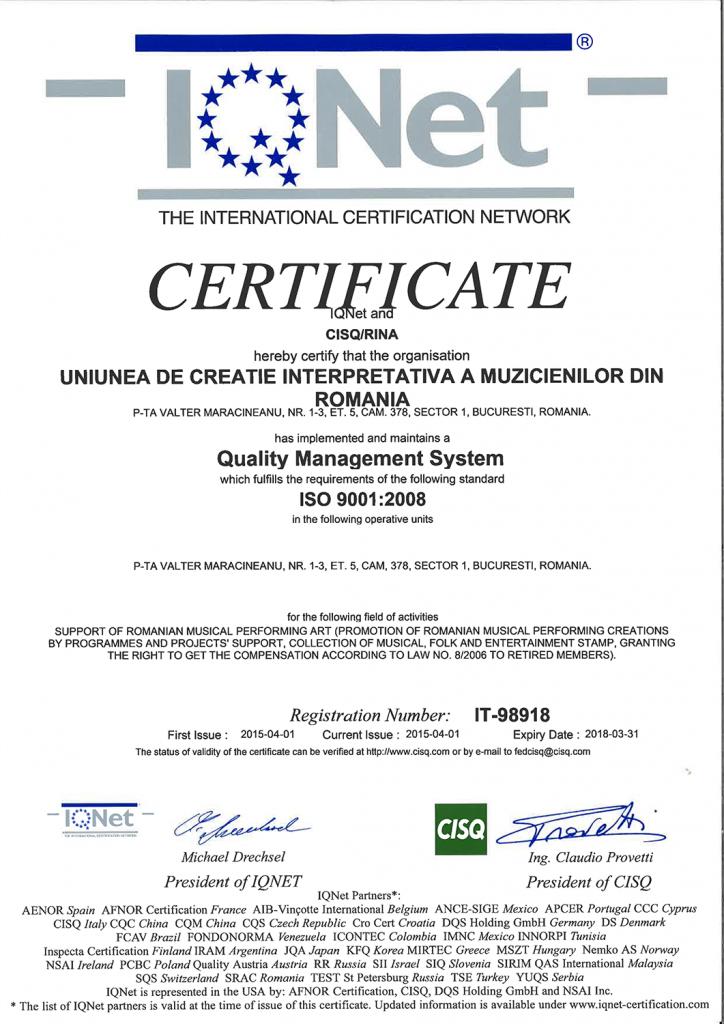 certificare ISO 1