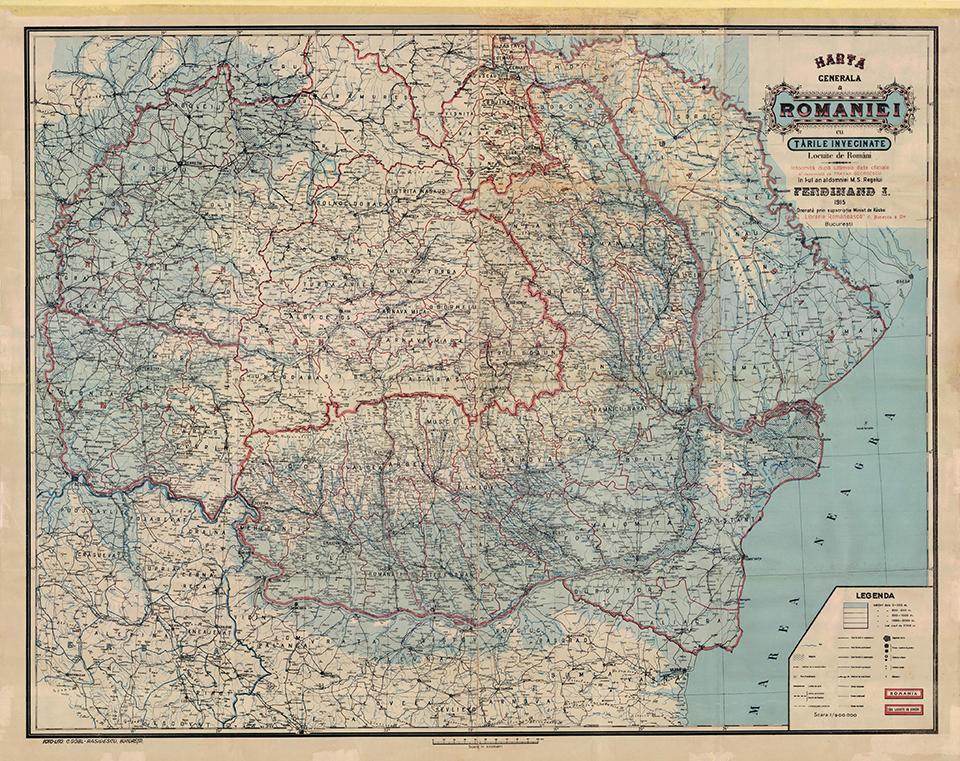 Harta generala a Romaniei 1915
